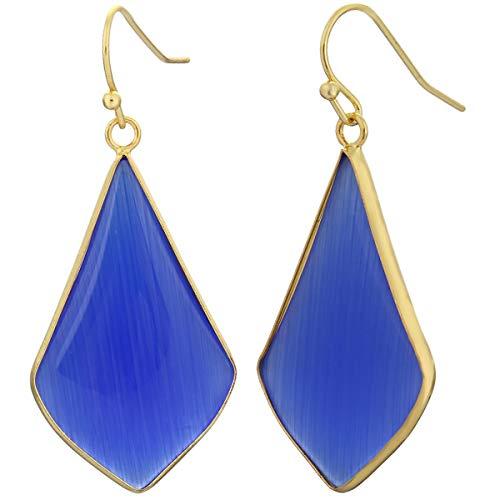 TUMBEELLUWA Crystal Quartz Stone Dangle Hook Earrings Rhombus Gold Plated, Cat's Eye ()