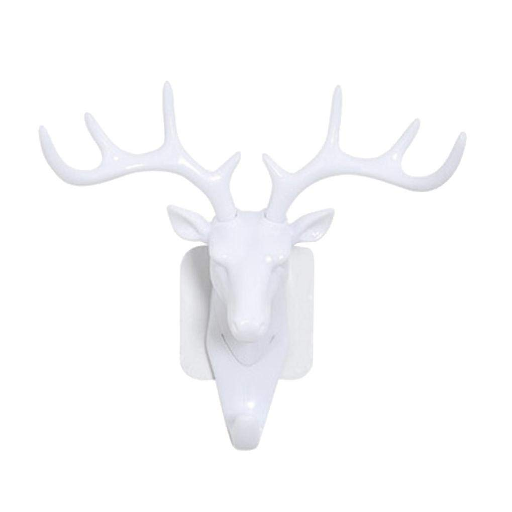 Howley Deer Head Self Adhesive Utility Hook, Hanger Bag Keys Sticky Holder,Waterproof and Oilproof with Strong Adhesive (White) by Howley (Image #1)