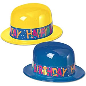 Beistle 66876 - Plastic Derbies With Happy Birthday Band - Pack of 24