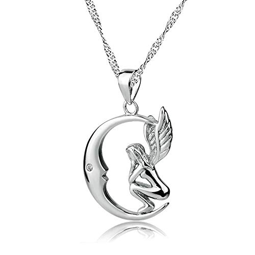 LoEnMe Jewelry Moon Angel Wing Love 925 Sterling Silver Necklace Pendant Gift Women Girl Birthday