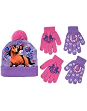 Nickelodeon Girls Hat and Glove Set, Kids Spirit Riding Free Winter Hat and 2 Pair Gloves Cold Weather Set