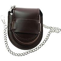 LYMFHCH Bronze Leather Chain Pocket Watch Holder Storage Case Box Coin Purse Pouch Bag (Brown)