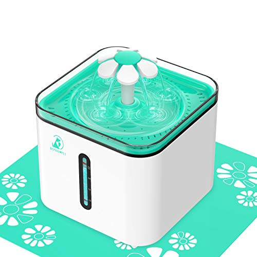 Cat Water Fountain,2.5L Automatic Pet Water Fountain Cat Water Dispenser with 3 Replacement Filters and 1 Silicone Mat for Cats,Dogs,Multiple Pets