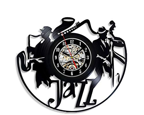 Levescale - Jazz Vinyl Wall Clock Music - Perfect Fest Gift for Man, Woman, Players - Decoration for Living Room, Bedroom - Blues Louis Armstrong Band Saxophone