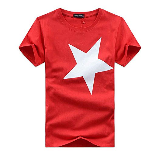 (Men T-Shirt Short Sleeve Star Print Blouse Casual Fashion Tunic Tops (L, Red))