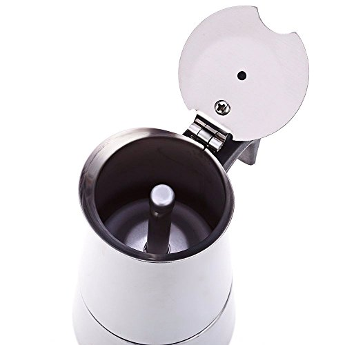 Espresso Coffee Maker Pot Stovetop Moka Coffee Pot Stainless Steel Latte Percolator with Bonus Scoop (4 cups/200ml)