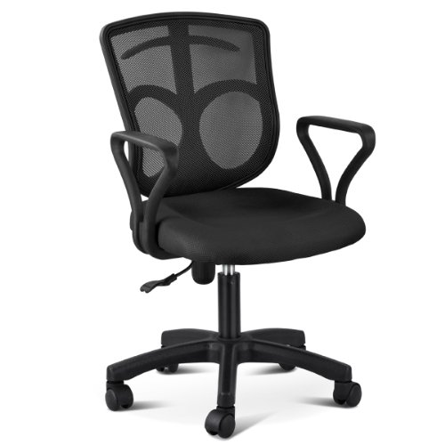 yaheetech adjustable mid back swivel office desk chair