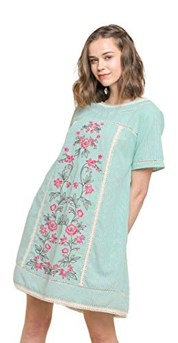 Umgee Women's Bohemian Embroidered Short Sleeve Dress or Tunic (Small, Mint) -
