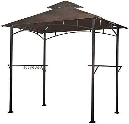 Sunjoy L-GG001PST-F 8 X 5 Soft Top Brown Double Tiered Canopy Grill Gazebo With 4Pcs Led Gazebo Grill,