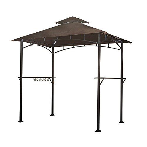 Gazebo Tiered Roof - Sunjoy L-GG001PST-F  8' X 5' Soft Top Brown Double Tiered Canopy Grill Gazebo With 4Pcs Led Gazebo Grill,