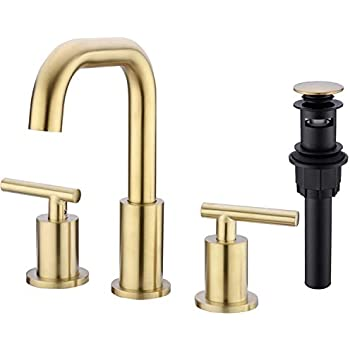 WorbWay Bathroom Faucet Gold 2 Lever Handle 8 inch Widespread Bathroom Sink Faucet with Pop-Up Drain