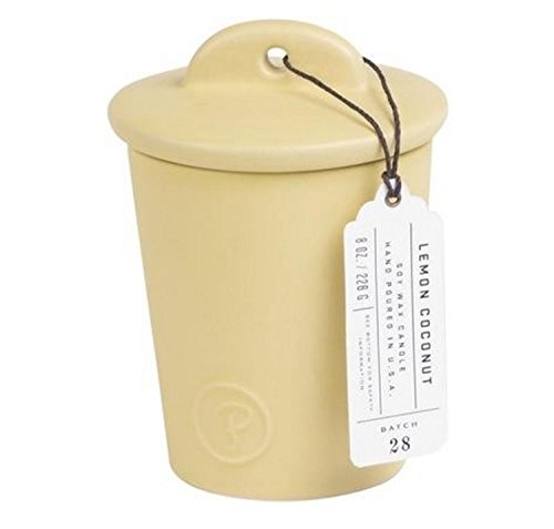 CC Home Furnishings Paddywax Provisions Collection Lemon Coconut Scented Soy Candle in Ceramic Jar 8 oz by CC Home Furnishings