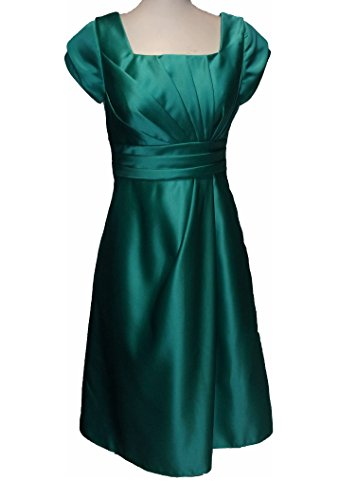 Venus Bridal Ana Satin Short Petal Sleeve Knee Length Gown Dress Size 06 Turquoise