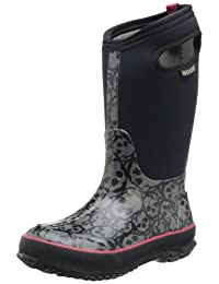 "Bogs Boots Boys Kids 10"" Classic Skulls Waterproof Rubber 71440"