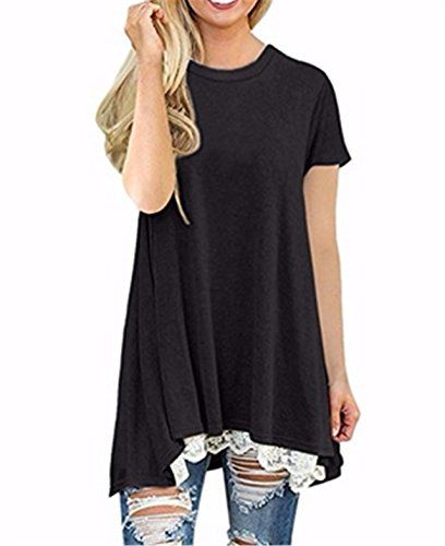 iLH® Clearance Deals O-Neck T-Shirt,ZYooh Women Short Sleeve A-Line Lace Stitching Loose Blouse Tops