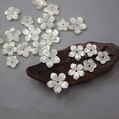 Calvas 6/8/10/12MM New Natural Mother Pearl Shell Spacer Flower Beads Sea Shell Bead for DIY Earrings Necklace Jewelry Making 10pcs/Lot - (Color: White as Photo, Item Diameter: Size 10mm) ()