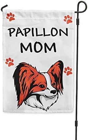 Papillon perro mamá Patio Patio Casa Banner bandera de Jardín W/hierro juego: Amazon.es: Jardín