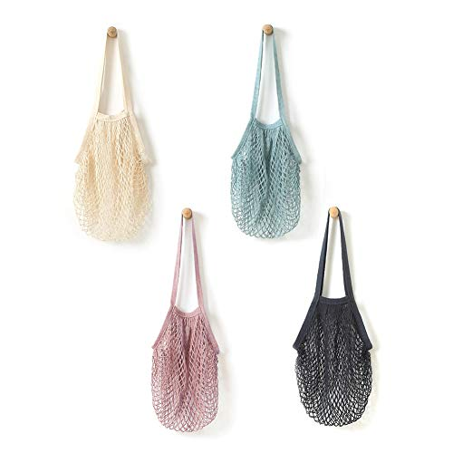 Mesh String Shopping Bag Reusable Mesh Cotton Net String Bag | 4 Pack Fruit Storage Shopper Net Tote with Long Handle for Grocery Shopping & Beach, Storage, Fruit, Vegetable by Alifeng