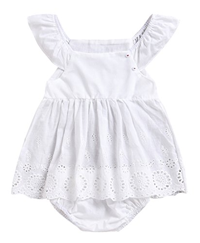LOliSWan Newborn Baby Girls Floral Print Backless Romper Infant Kids Jumpsuit Outfit Playsuit Clothes (White, 6-12 Months) ()