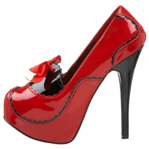 Escarpins Pleaser 01 Eu teeze Rouge noir Femme twq8T0