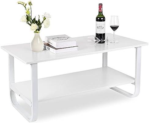 HOMFA Table Basse Salon Blanc Laque Table Salon Table Basse ...