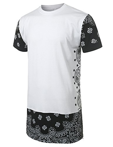 URBANCREWS Mens Hipster Hip Hop Paisley Edges T-Shirt WHITE MEDIUM