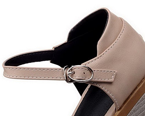 GMBLA012692 Talon Femme AgooLar Cuir PU Abricot Boucle Sandales Correct à d'orteil Fermeture gfg14x6