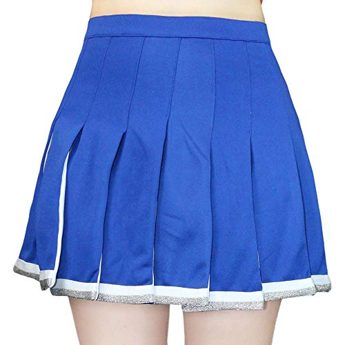 (Danzcue Adult Cheerleading Pleated Skirt, Royal-White, Large)