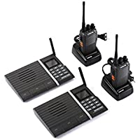 Samcom 10-Channel Digital FM Intercom with Two Way Radio System- Smart Walkie Talkie for Home and Office(4 Stations)