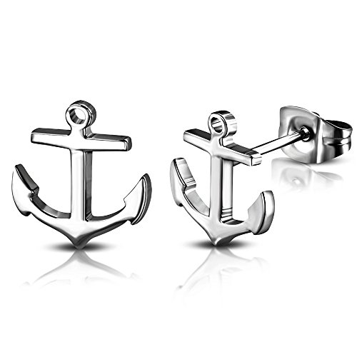 (DianaL Boutique 316L Stainless Steel Nautical Marine Anchor Stud Earrings Gift Boxed Fashion Jewelry)