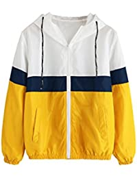 Women's Casual Color Block Drawstring Hooded Windbreaker Jacket