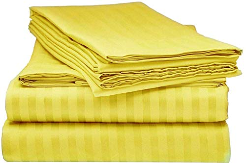 100% Egyptian Cotton Sheets- Twin, Yellow Stripe, Luxury & Softest 4 PCs- Sheet Set (1 Flat, 1 Fitted & 2 Pillowcases)- 800TC Fits Mattress Upto (5