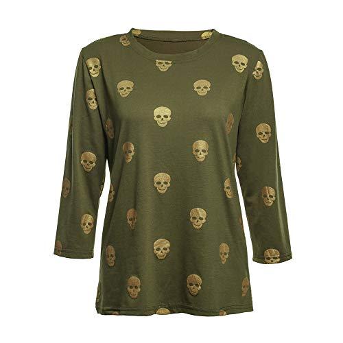 TWGONE Halloween Womens Tops Long Sleeve Skull Print Gold Stamp Blouse Bottom Shirt(US-8/CN-2XL,Green) -