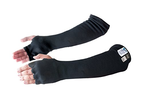 - Kevlar Cut, Scratch, Heat & Knife Resistant Protective Arm Sleeves with Finger Opening & Thumb Holes- Dog/Pet Bite Guard, Cooking, Gardening, Welding Arm Safety Washable- 18 Inches Long, Black, 1 Pair
