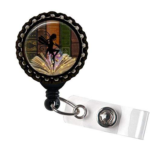 Book Fairy Retractable Name Badge holder Reels Identification Black Bottle Cap