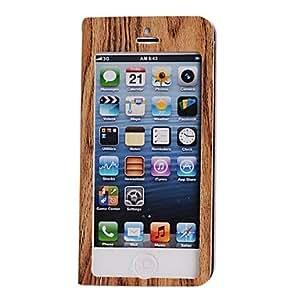 GONGXI-Madera de grano completo del caso del cuerpo de pantalla con soporte para el iphone 5c (marrón)
