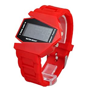 Plane Style Digital Display LED Silicone Wrist Watch Single Red
