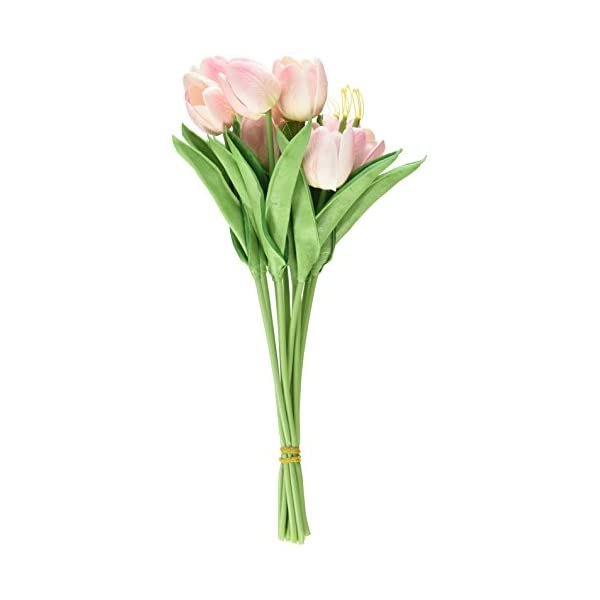 10PCS/LOT PU Stunning Holland Mini Tulip Flower Real Touch Wedding Flower Artificial Flowers Silk Plants for Room Home Hotel Party Event Decoration Multi-Color (Pink)