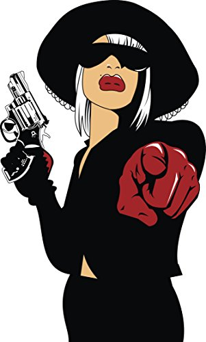 Female Gangsters (Female Gangster Mafia Woman Cartoon Vinyl Decal Sticker (4