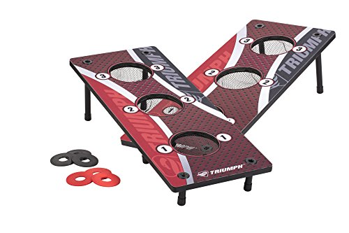 Triumph 3-Hole Washer Toss Outdoor Lawn Game Includes 2 Game Platforms and 6 Washers