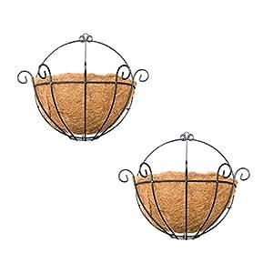 Baoblaze - Maceta de 2 piezas para colgar en la pared, diseño de coco, para interiores y exteriores, 25,4 cm