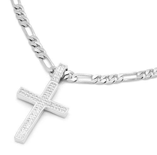 """Mens White Gold Tone Fully Cz 1 Dome Cross Pendant Hip-Hop 24"""" 5mm Figaro Chain"""