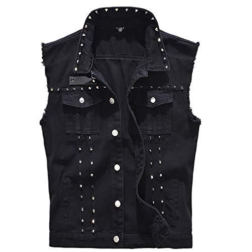 iYYVV Mens Denim Vest Casual Cowboy Jacket Ripped Holes Sleeveless Tops Black]()