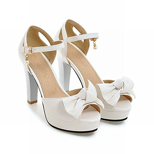 Mee Shoes Women's Chic High Heel Platform Buckle Bow Upper Sandals Shoes White YVe03