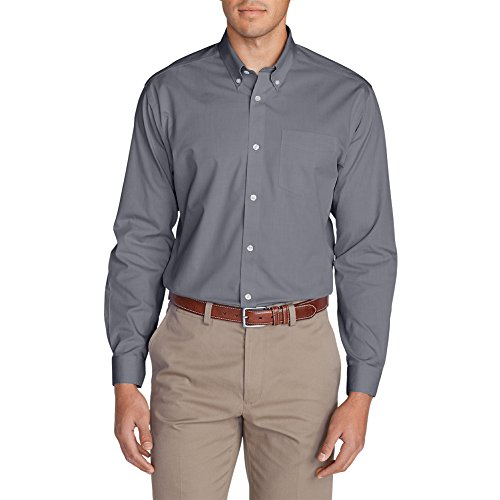 Eddie Bauer Men's Wrinkle-Free Classic FIt Pinpoint Oxford Shirt - Solid, Lead T (Fit Dress Shirt Pinpoint)