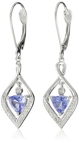 14k White Gold Tanzanite and Diamond (1/10cttw, H-I Color, I2-I3 Clarity) Dangle Earrings by Amazon Collection