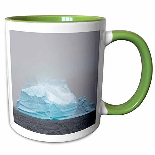 Argentine Island Light - 3dRose Danita Delimont - Icebergs - Antarctica. Argentine Islands. Giant iceberg disappears into the mist - 11oz Two-Tone Green Mug (mug_225189_7)