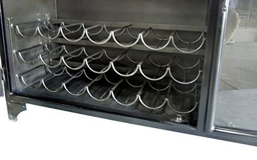Storage Natural Wine Cabinet-Gunmetal Tobacco Black Designe Gallerie IBR1101 Odila Door Bar Bottle and Glass