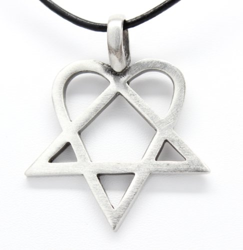 Trilogy Jewelry Pewter Heartagram HIM Pentagram and Heart Pendant on Leather Necklace (Band Necklace)