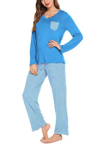 (hellow friends Women 2 Pieces Long Sleeve T-Shirt & Pants Pajama PJ Set Sleepwear Lightweight Viscose Pajama Sets Lake Blue S )